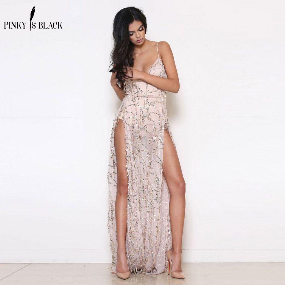 Evening Party Club Elegant Dress 2018 Women Dress Vestidos De Festa Womens Sexy Dresses Gold Sequined Long Evening Maxi Dress