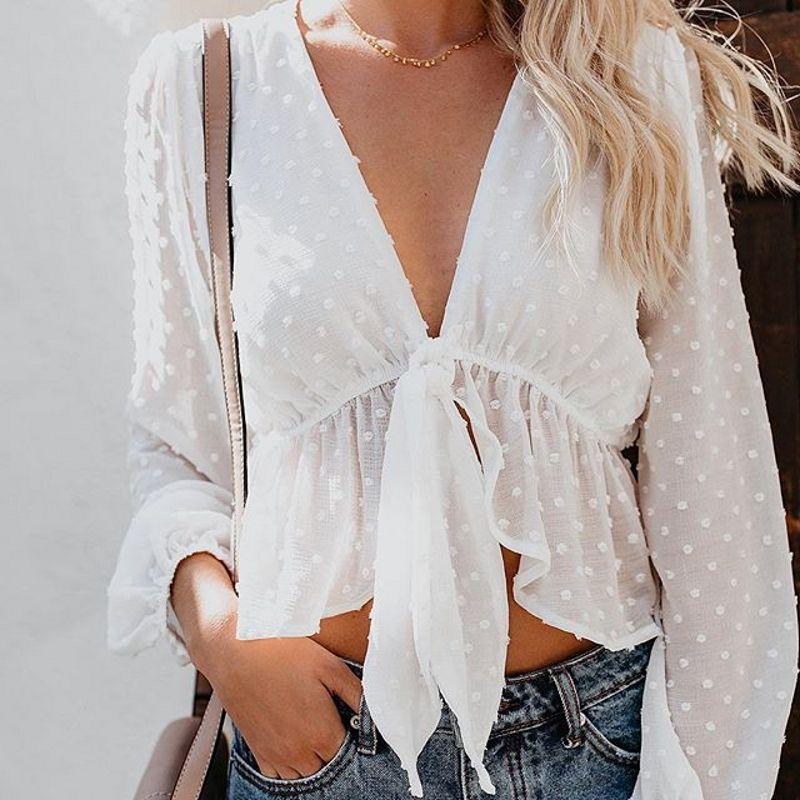 Nouveau chemisier femmes Sexy Transparent blanc chemise lanterne manches haut court à pois col en v profond à lacets volants blusas T89391