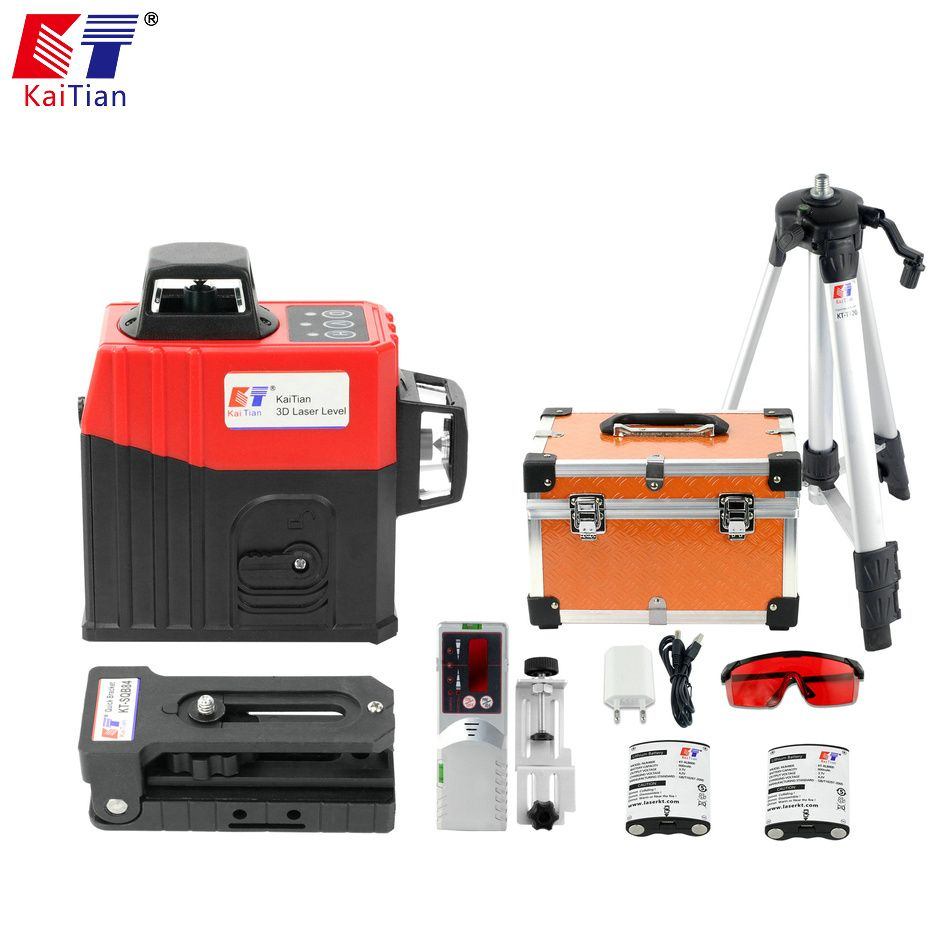 KaiTian 12 Lines 3D Laser Level Tripod Self-Leveling 360 Horizontal Rotary Vertical Lasers Receiver Beam Line Lazer Levels Tools