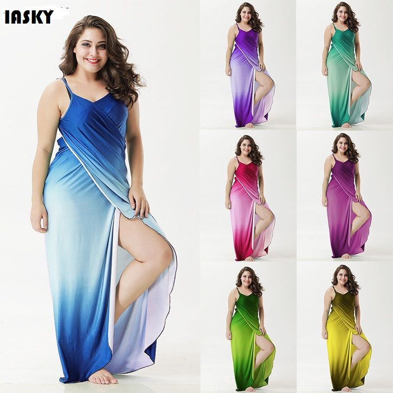 IASKY  Plus size Cover Up  Robe Plage Gradient color Beach Long Dress Pareos Women Tunic Sarong Bathing Suit Bikini Cover Up