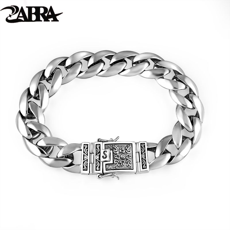 ZABRA Real 925 Silver Men's Bracelet 12mm Wide Smooth Flower Safe Lock High Polish Link Chain Male Biker Silver Bracelet