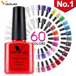 Новинка, бесплатная доставка, дизайн ногтей, маникюр Venalisa, 60 цветов, 7,5 мл, эмалированный Гель-лак для ногтей