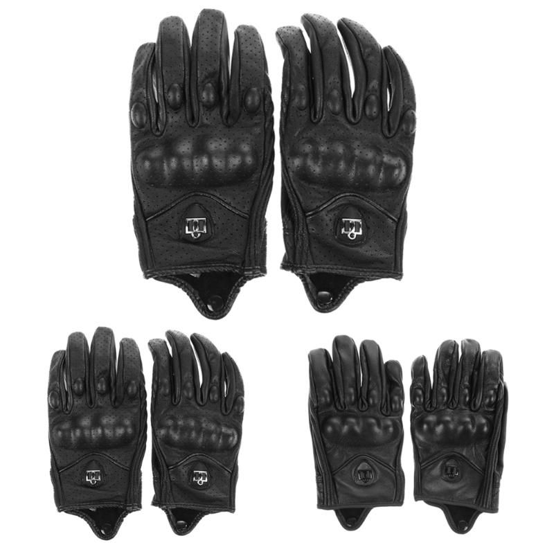 Men Motorcycle Gloves Outdoor Sports Full Finger Motorcycle Riding Protective Armor High Quality Black Short Leather Gloves New