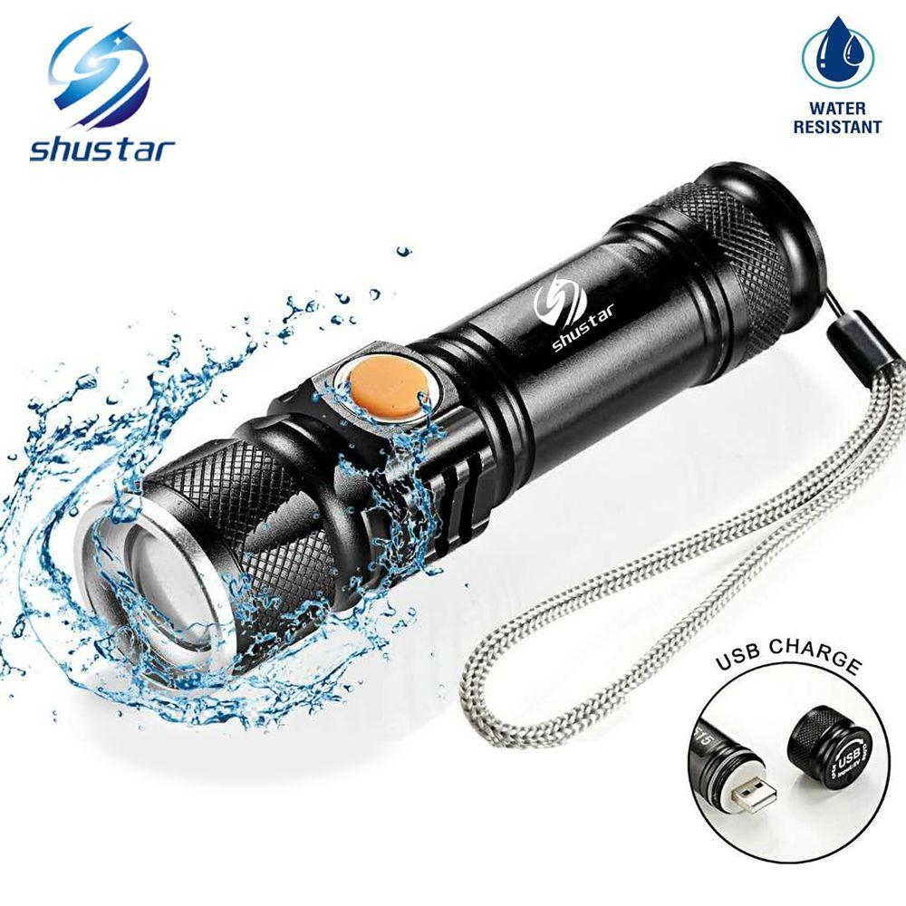 USB À L'intérieur Batterie T6 Puissant 2000LM Led lampe de Poche Portable Lumière Rechargeable Tactique LED Torches Zoom lampe de Poche