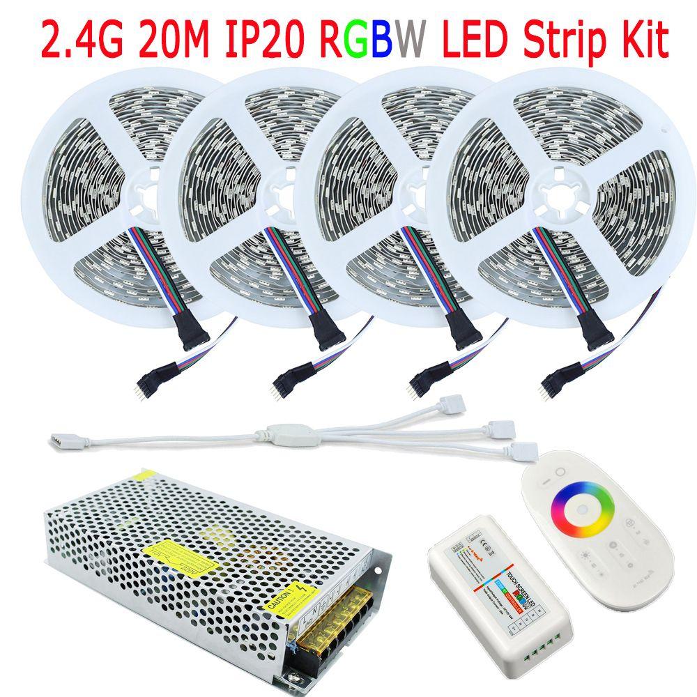 20 M DC12V RGBW Fita De LED bande RGB blanc chaud blanc IP20 pas étanche 15 M 10 M Kit complet 2.4G RF RGBW contrôleur à distance alimentation ca