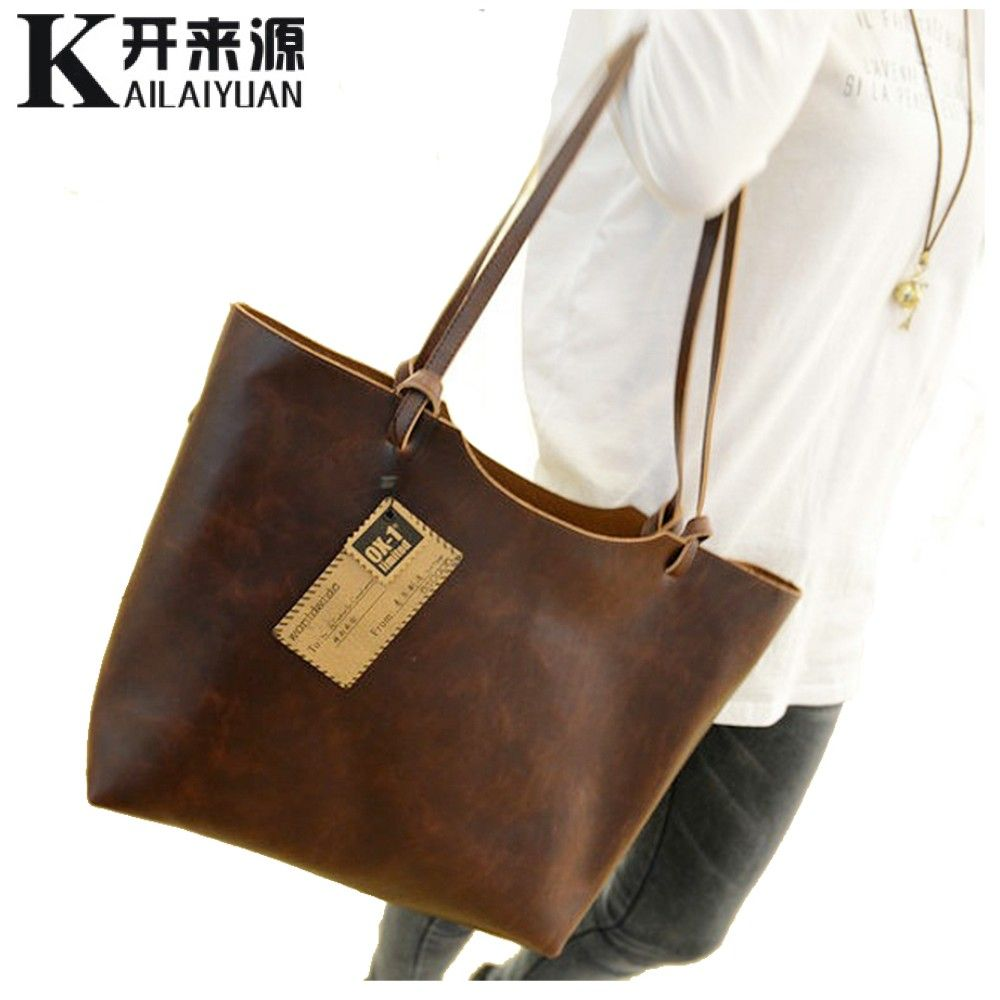 KLY 100% Genuine leather Women handbags 2018 New design women handbags vintage women shoulder bags large tote brown women bags
