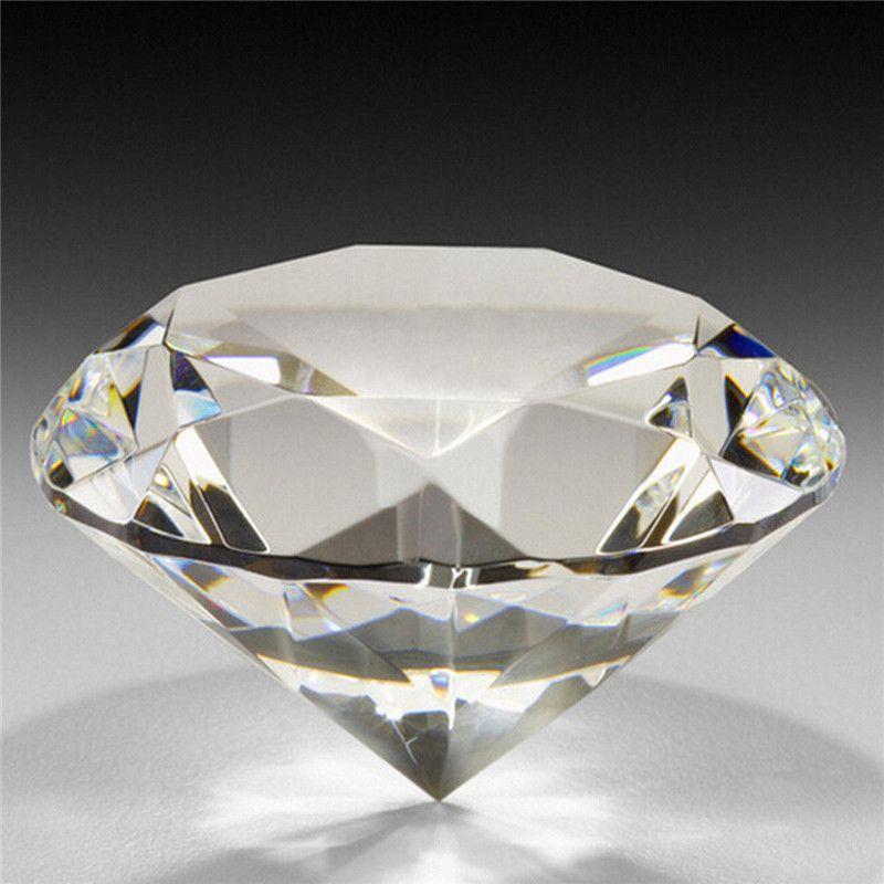 1 pc 60mm/2.36 pouces Crystal Clear Diamond Cut Forme Presse-papiers En Verre Gem Maison Affichage