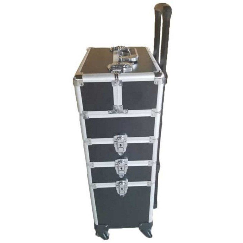 Brand Aluminum frame 4 in 1 Trolley Makeup Box Beauty Case with wheels professional makeup Suitcase makeup New Universal Wheels