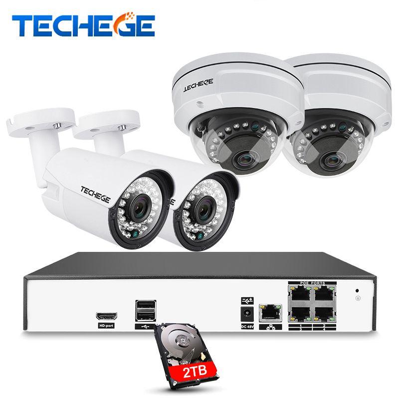 Techege H.265 4CH CCTV Camera System 4.0MP POE IP Camera 2560*1440 Waterproof Vandalprpof Motion Detect Surveillance Video Kit