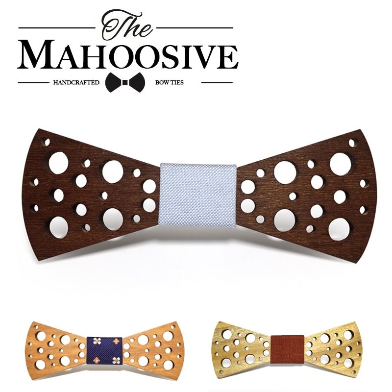 Dot Mahoosive Brand Handmade Wood Bow ties Bowtie Butterfly Gravata Ties For Men Mens Wooden bow tie neck bow ties for Girls