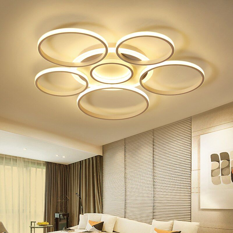 White or brown High Brightness modern led ceiling lights for living room bedroom Circle Rings Ceiling Lamp Fixtures