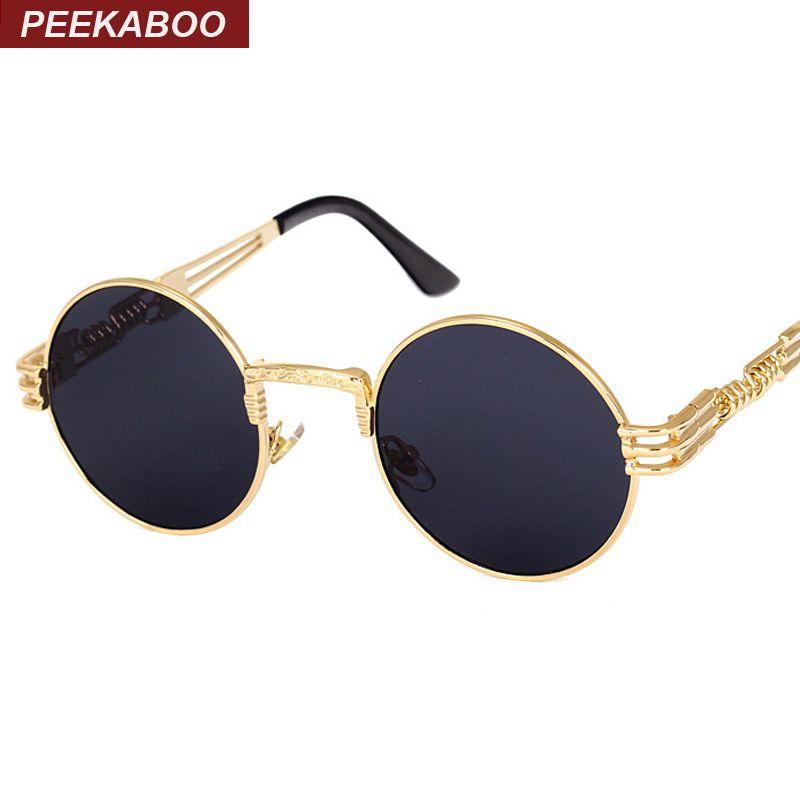 Прятки урожай ретро готический стимпанк зеркало солнцезащитные очки золото и черный солнцезащитные очки винтаж круглый круг мужчины УФ gafas...