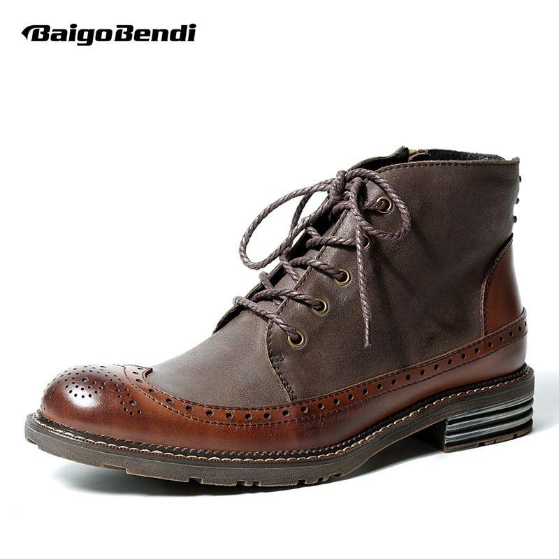 Британский стиль мужские Пояса из натуральной кожи Кружево Up Brogue Wingtip ботинки Martin Повседневное зима торжественное платье Обувь шнурованная...