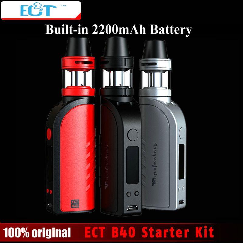 Original ECT B40 Electronic Cigarette Starter Kit 2200mAh Battery 2.0ml Atomizer 0.3ohm no Leaking Pen Box Mod e Cigarette