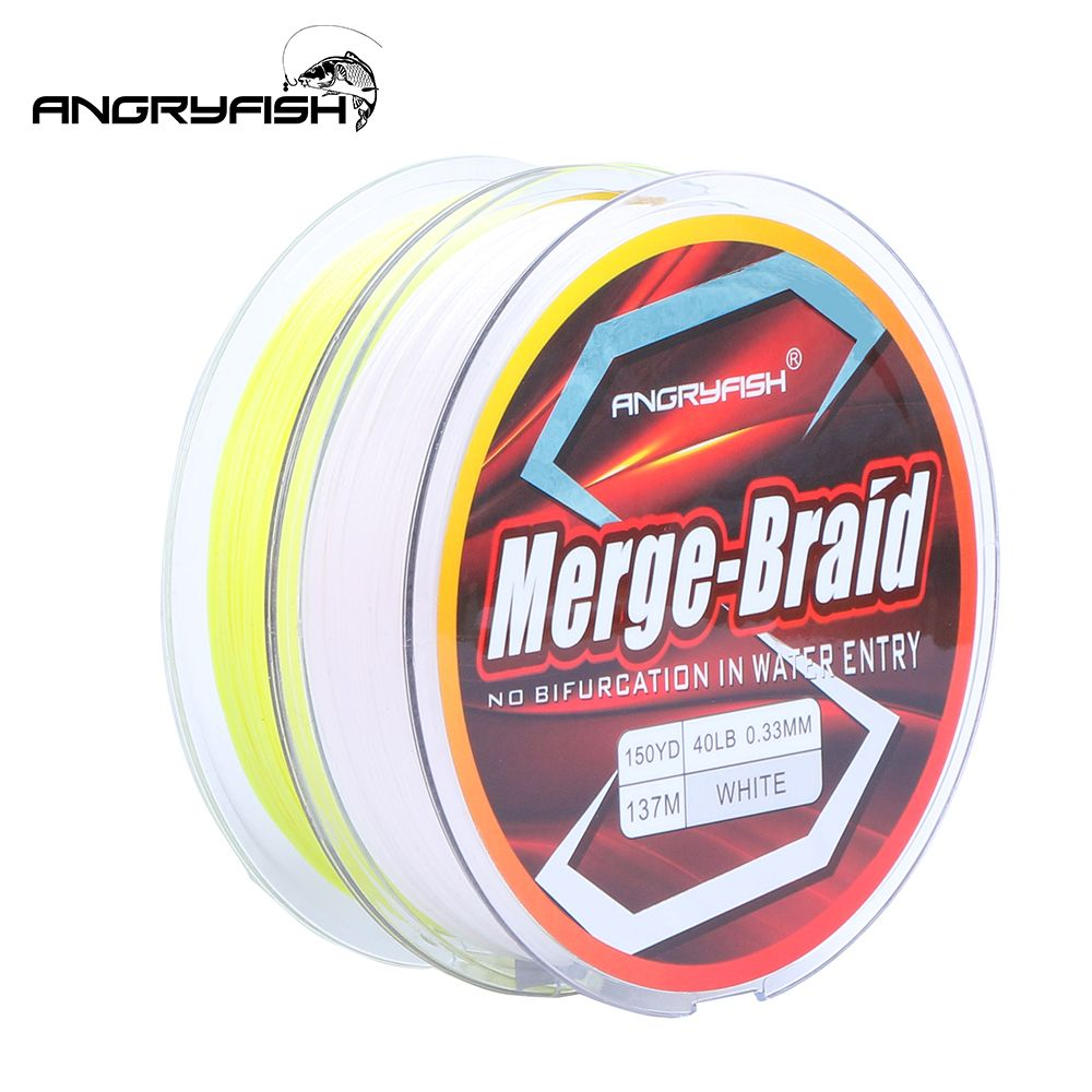 Angryfish 2019 New 150yd/137m Fishing Line PE Fire Pure Fluorocarbon Coated Merge-Braid 8 Strands Braided Fishing Line