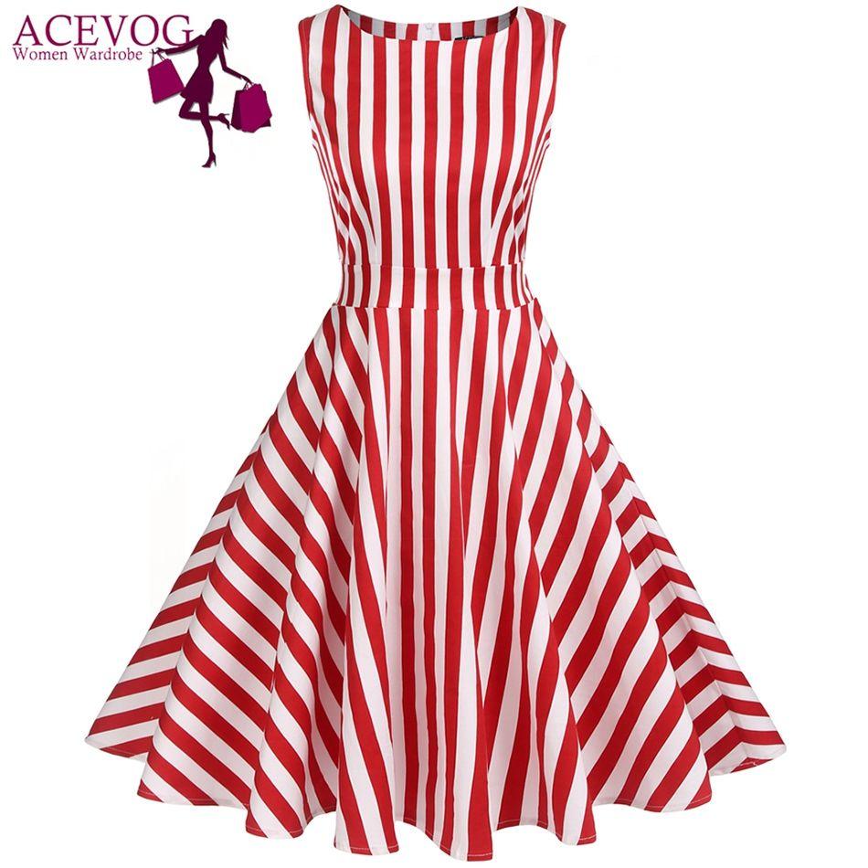 ACEVOG Vintage Swing Robe Femmes 1950 S 60 S Rétro Jardin Parti Pique-Nique Robes Cocktail Tunique Rockabilly Robes Robe Plus taille