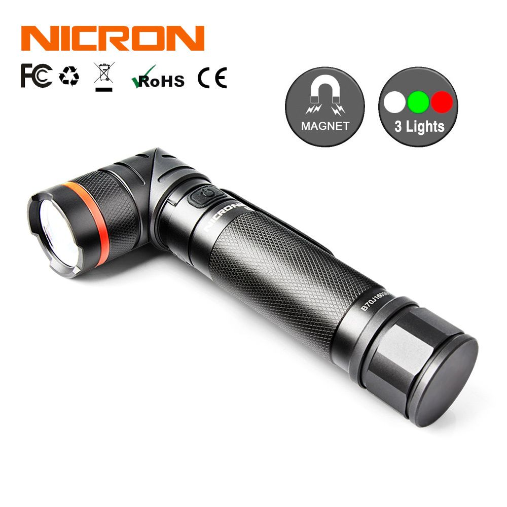 NICRON Magnet 90 Degrees 5W Ultra Bright LED Flashlight High Brightness Waterproof 3 Modes 300 Lumens Zoomable LED Torch B70