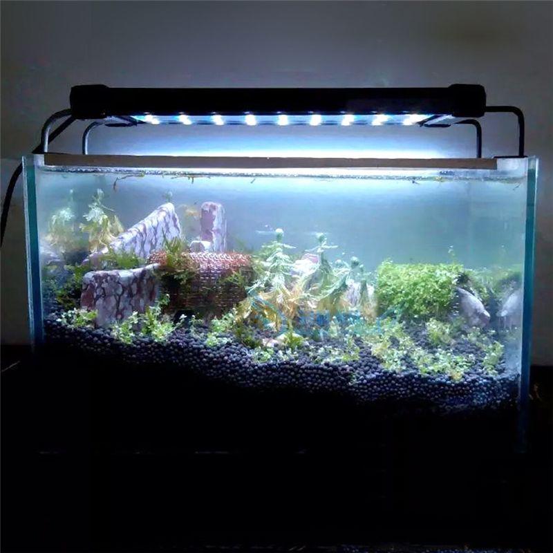 D'origine SMD Aquarium Fish Tank Éclairage Lampe 50-68 cm/28-46 cm Extensible Cadre Blanc et bleu LED pour Aquarium UE/US/UK Plug