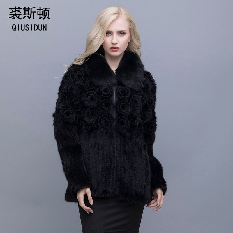 QIUSIDUN Genuine Pure Natural Mink Fur Long Sleeve Coat Fashion Winter Warm Large Size Flower Mink Women's Casual Full Clothing