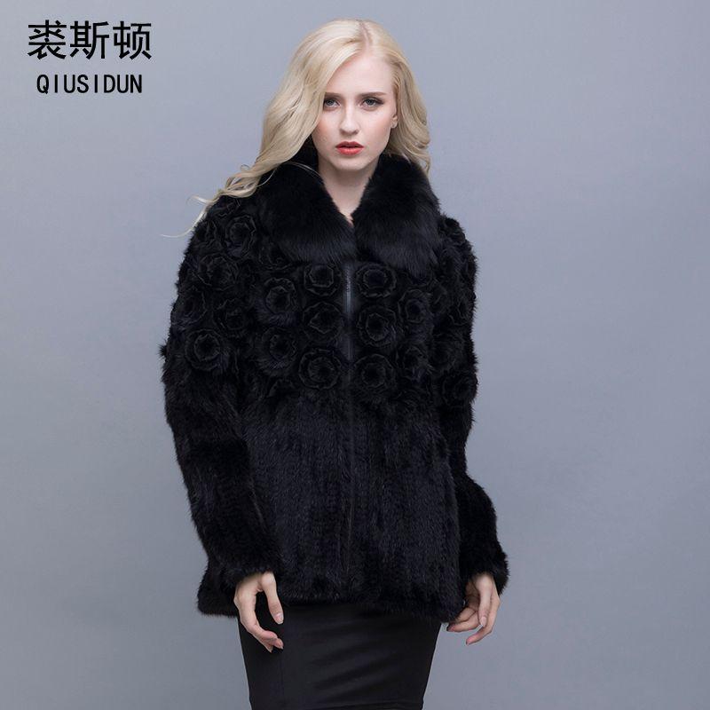 QIUSIDUN Genuine Pure Natural Mink Fur Long Sleeve Coat Fashion Winter Warm Large Size Flower Mink Women's Casual Full Clothing