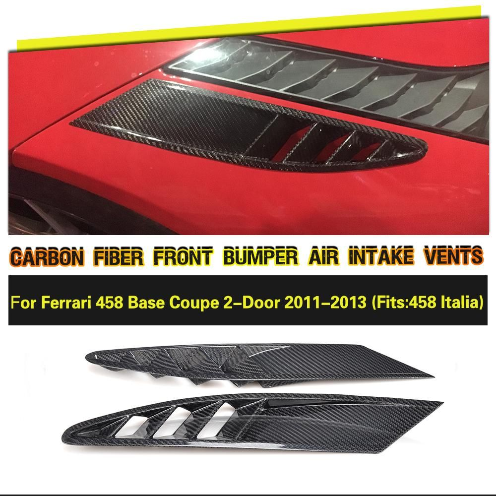 Carbon Fiber Side Air Intake Vents Mesh Covers Case for Ferrari 458 Base Coupe 2 Door 2011 2012 2013 Car Accessories Parts 2PCS