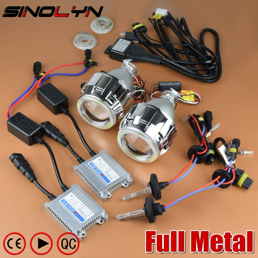 SINOLYN Upgrade Full Metal 2.5'' Pro Leader HID Bi-xenon Projector Headlight Lens Kit With/ Without White Angel Eyes Halo Lenses