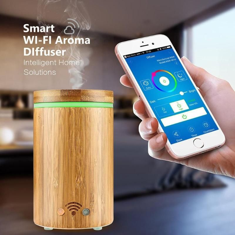 Smart Wi-Fi Essential Oil Diffuser Aroma Humidifier Works with Amazon Alexa aromatherapy machine with colorful LED lights