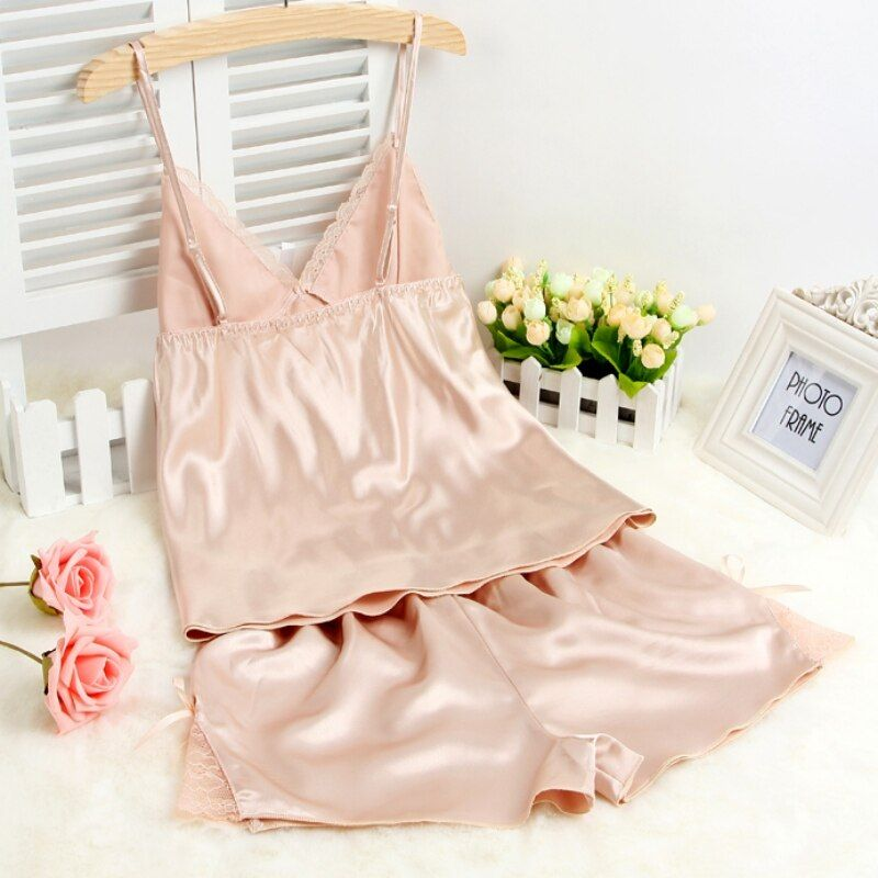 Sexy Women Faux Silk Sleepwear Braces Shirts+Shorts Underwear Pajamas Robes Set Y001