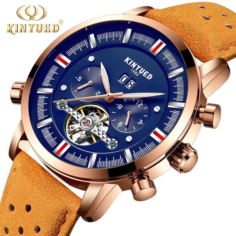 KINYUED Mens Top Brand Mechanical Watches Luxury Perpetual Tourbillon Automatic Watch Men Skeleton Calendar Relogio Masculino