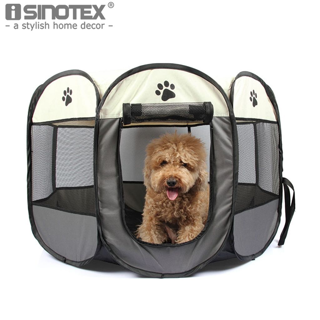 Portable Folding Pet Dog Cat Cage Playpen House Tent Kennel Easy Operation Comfortable Fence Outdoor Supplies 6 Solid Colors1PCS