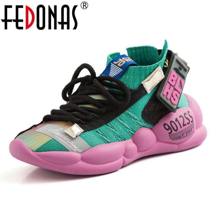 FEDONAS 2019 femmes baskets nouveauté corss-attaché appartements plates-formes chaussures femme décontractées respirant qualité Sport femme chaussures