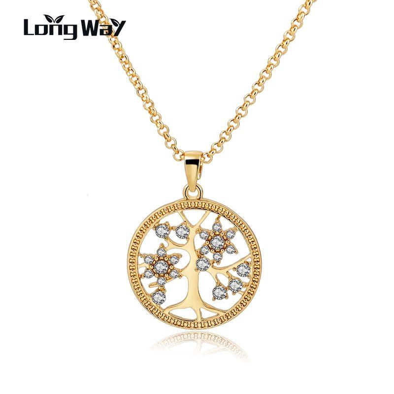 Longway color oro collar de cadena con el árbol de la vida pendiente de la forma redonda de cristal collares para las mujeres joyería sne160107103