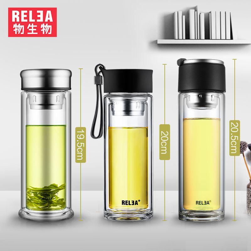 Portable flacon de cristal d'eau Thé Infuser Gobelet En Verre à double paroi borosilicate bouteille en verre filtre en acier inoxydable bouteille