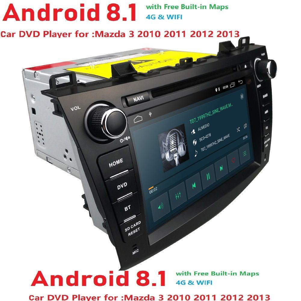 Hizpo Android8.1 2Din 8 zoll Auto DVD-Multimedia-Player Für Mazda 3 2010 2011 2012 2013 Quad-Core 4G1024*600 GPS Wifi DAB + TPMS SWC