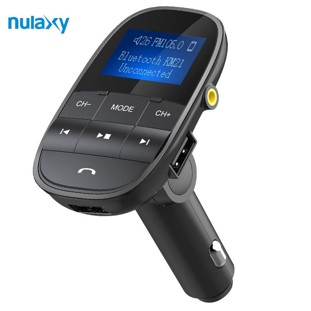 Nulaxy FM Transmitter Bluetooth FM Modulator Handsfree Car MP3 Player Support USB Flash <font><b>Drive</b></font> SD Card USB Charger Aux Out/In