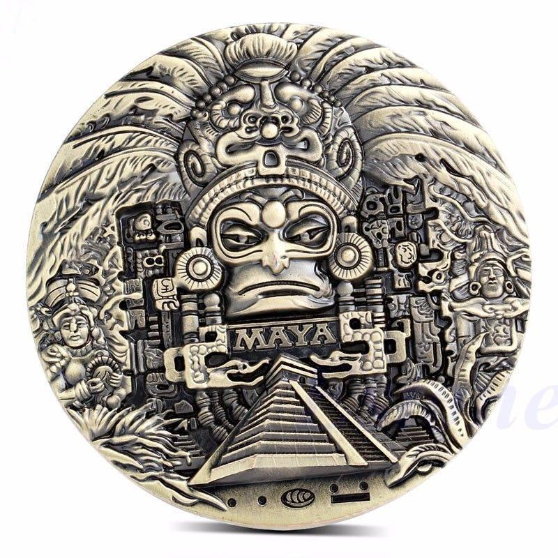 1x maya aztèque calendrier Souvenir prophétie commémorative pièce Art Collection cadeau