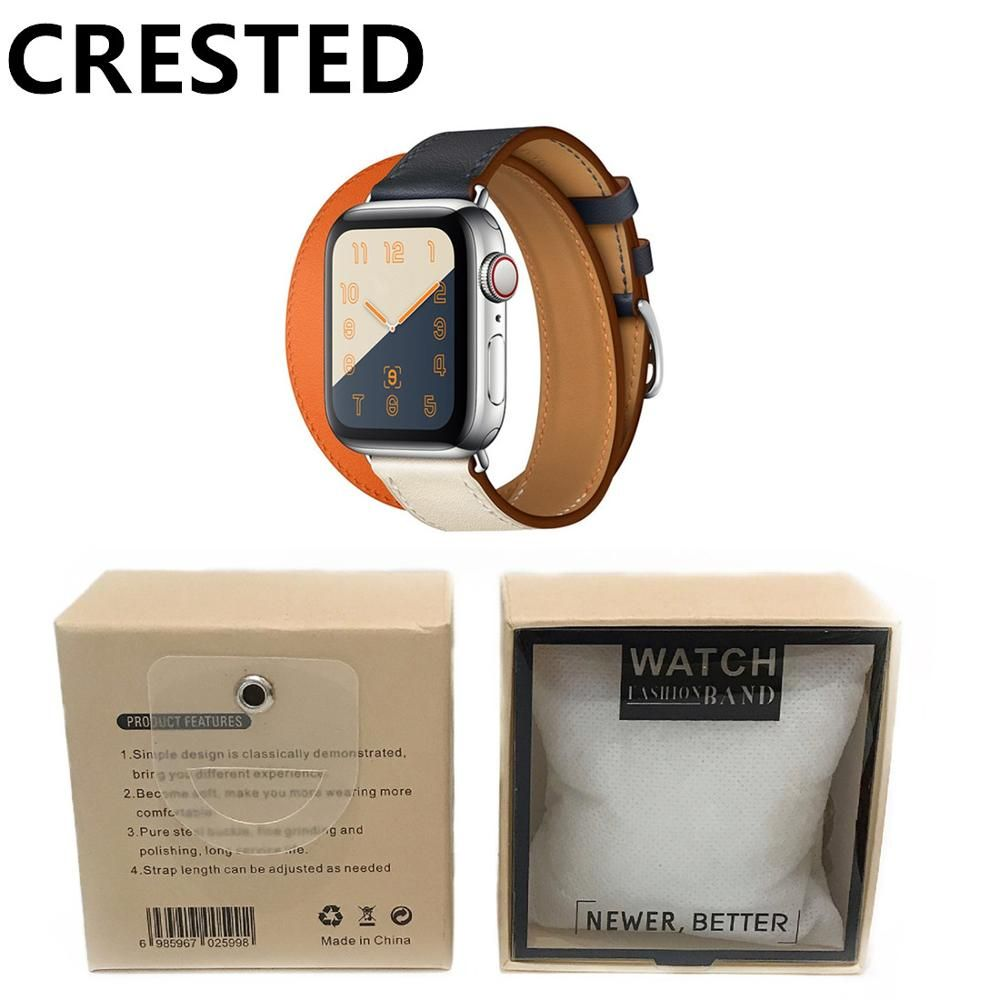 CRESTED double tour Leather strap For apple watch 4 band 40mm 44mm correa iwatch series 3 2 1 42mm 38mm wrist watchband belt