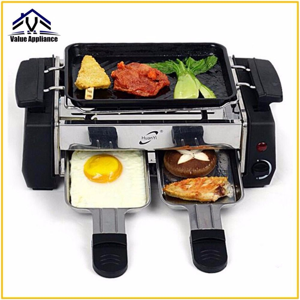 Quality 1000W Non-sticky Family Barbecue Electric Raclette Grill for 2 to 4 Person Smokeless Grill Raclette Electric Griddle