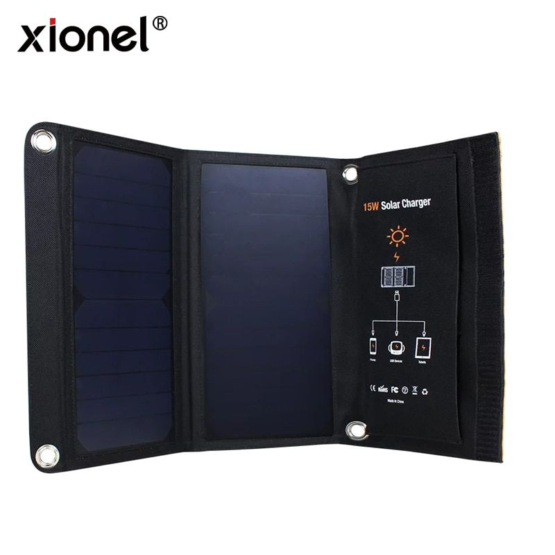 Xionel 15W Portable Solar Charger Waterproof Solar Panel Dual USB <font><b>Ports</b></font> Solar Charger Power Bank for Mobile Iphone