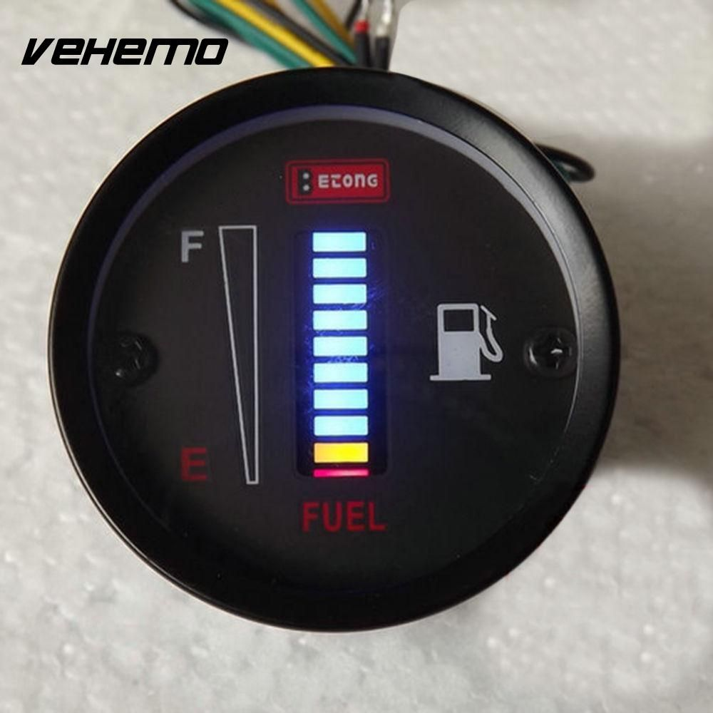 Universal Car Motor 2 52mm Fuel Meter LED Digital Display 12V System Fuel Gauge Iron Car Styling 1Pc Car Accessories Auto Part