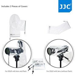 JJC 2pcs Set of Waterproof Rain Cover Raincoat Protector Case for Nikon for Canon for Sony With Flash Lens Up to 14