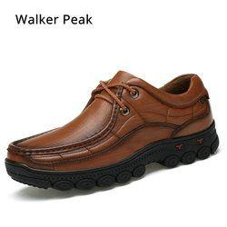 Pria Sepatu Kerja Sepatu British 100% Kulit Asli Bisnis Kasual Sepatu Paten Hitam Sepatu untuk Pria Sepatu Flat Pria Walkerpeak