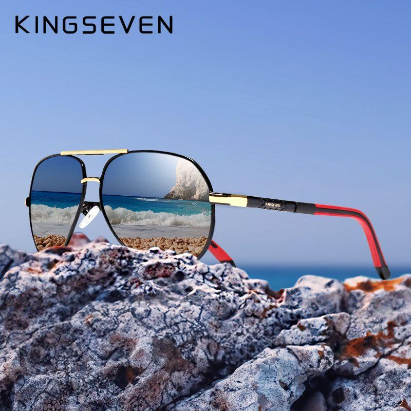 KINGSEVEN aluminium magnésium hommes lunettes de soleil polarisées hommes revêtement miroir lunettes oculos mâle accessoires lunettes pour hommes K725