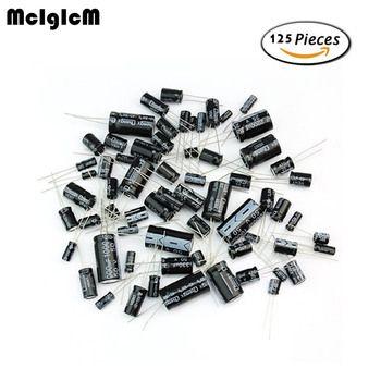 MCIGICM D180 125 pcs 25 Valeurs Total Condensateurs Électrolytiques Assortiment Kit Set 1 uF à 2200 uF composants électroniques