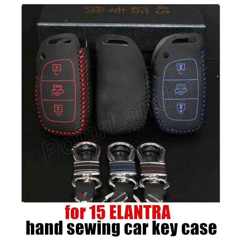 Case fit for HYUNDAI 15 ELANTRA car key case Hand sewing car key cover DIY car styling Genuine quality leather
