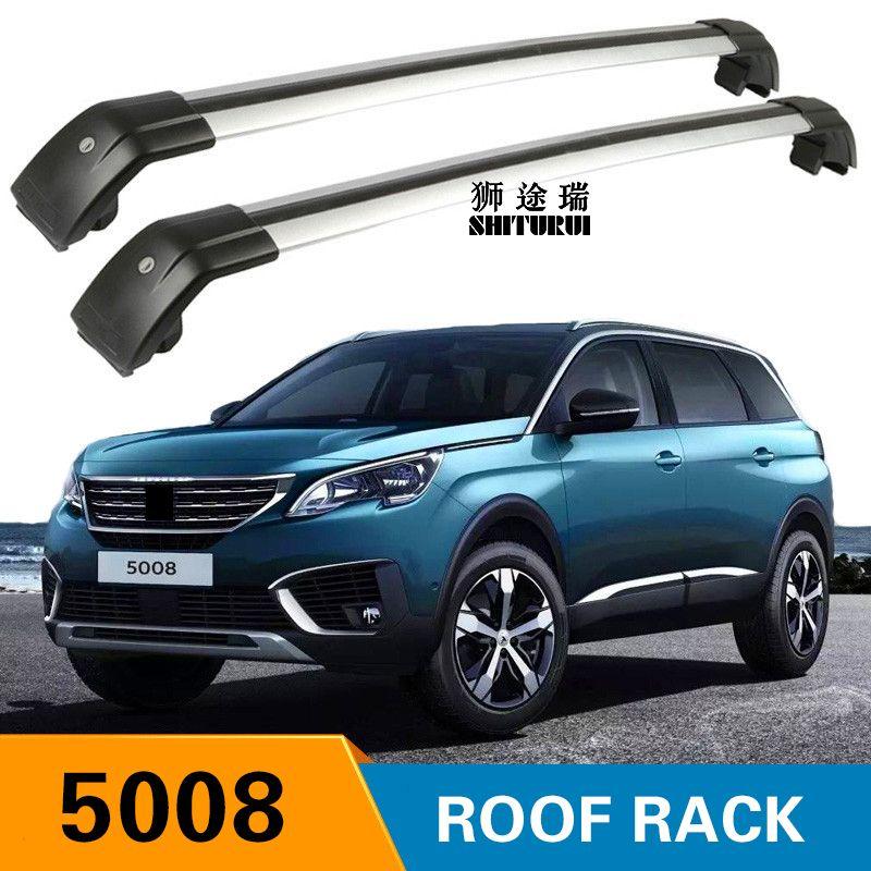 SHITURUI 2Pcs Roof bars For PEUGEOT 5008 2017 2018  Aluminum Alloy Side Bars Cross Rails Roof Rack Luggage Carrier