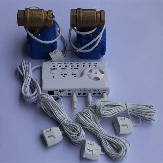 WLD-806 Hidaka Water Leak <font><b>Detection</b></font> Alarm System with Auto Shut-off Double Valve 1/2 and 8pcs Sensitive Water Sensor Cable