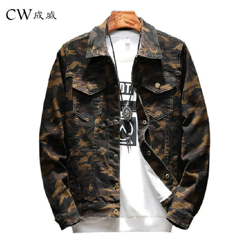 New Mens Camouflage Denim Jacket Coat Male Outwear Jaqueta Masculino Jeans Jacket and Coats Fashion Design Autumn Brand Clothing