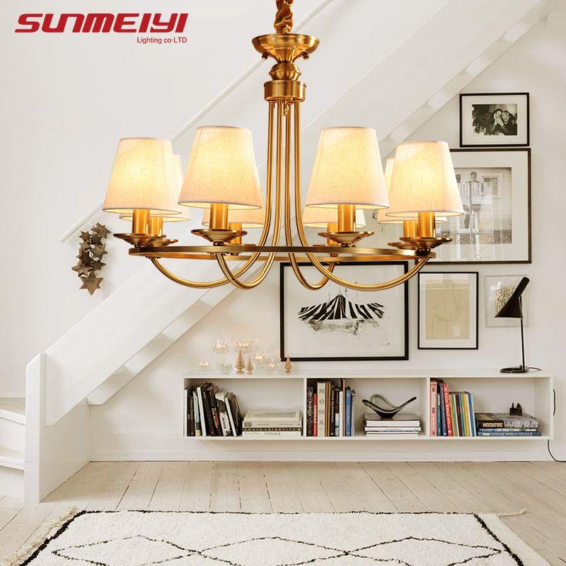 American Copper LED chandeliers retro lustre para sala Bedroom Living Room Hanging Pendant Luminaria Indoor Light Chandeliers