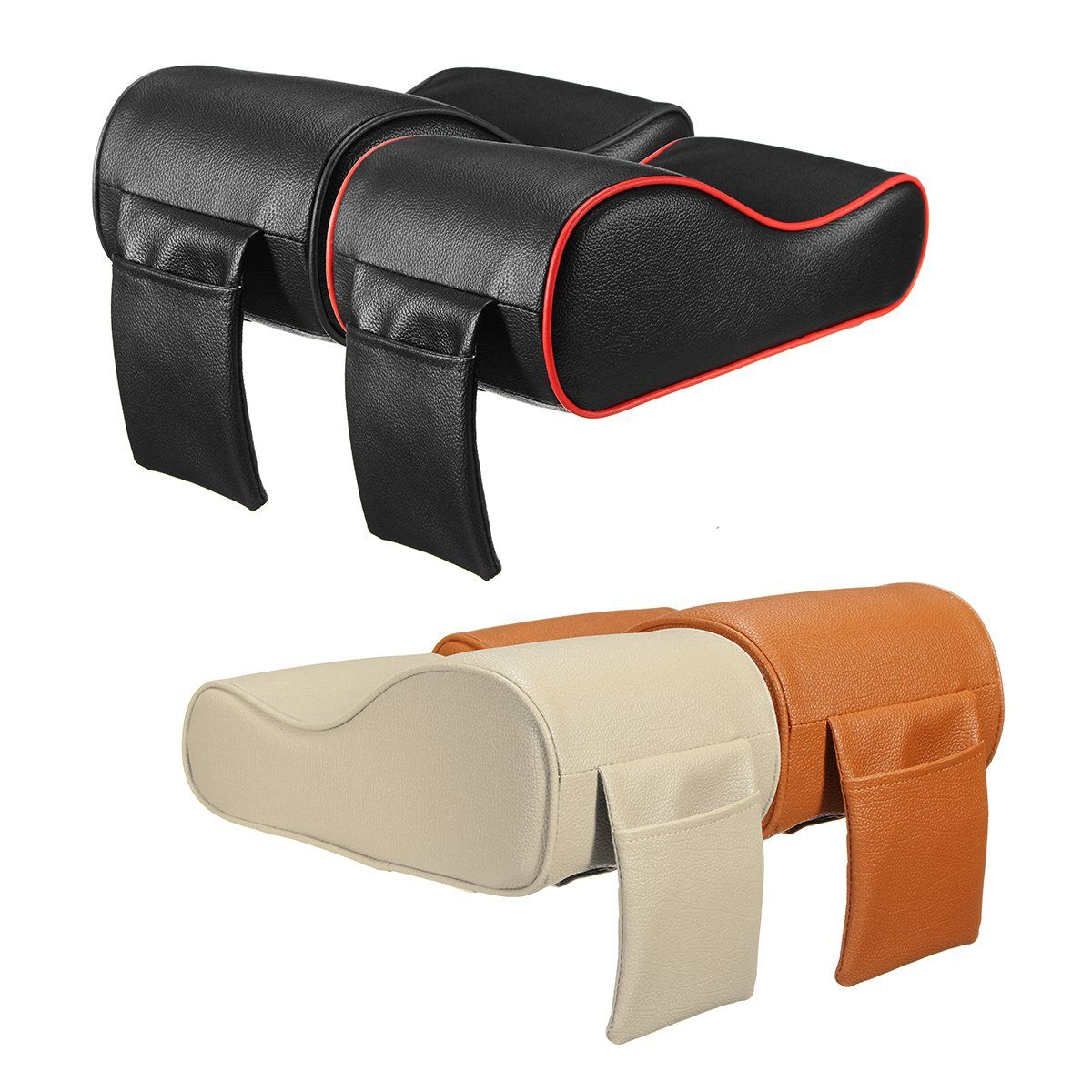 Luxury PU Leather Car SUV Center Box Armrest Cushion Console Soft Pad Cushion Cover Mat Memory Foam Rest Pillow Armrest Supports